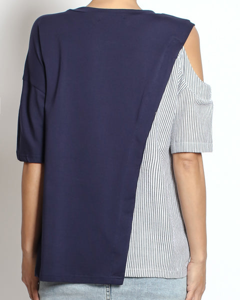 navy tee with stripes shirt cutout shoulder top *pre-order*