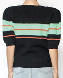 black & green stripe panel short sleeves knitted top