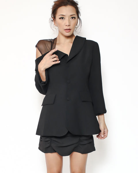 black mesh cutout shoulder blazer