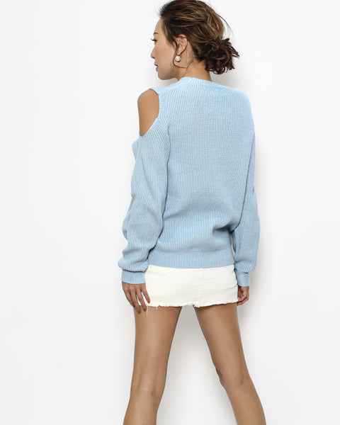 blue cutout shoulder knitted top *pre-order*