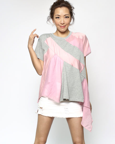 grey & pink mesh tee with slip