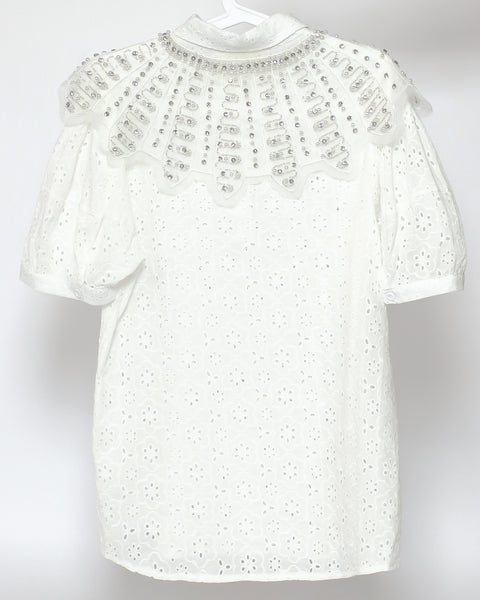 ivory crochet with beads bibs top