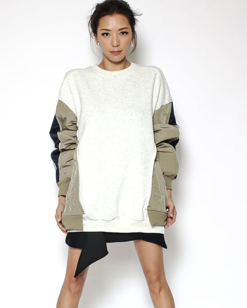 oat fleece sweatshirt contrast sleeves