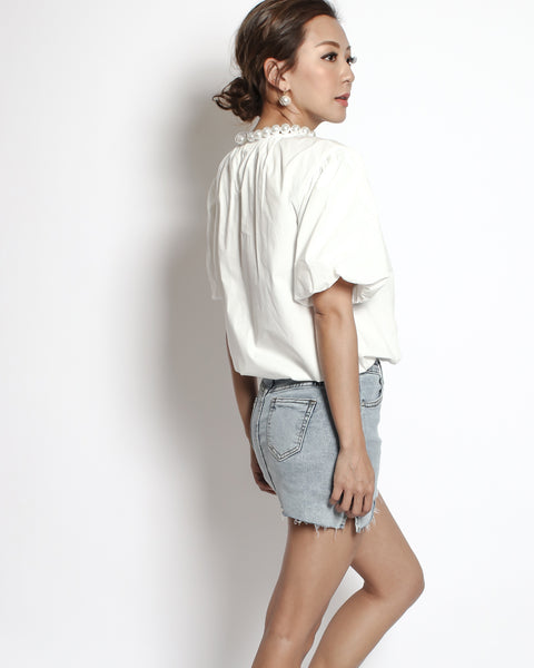 ivory ruched front with pearls neckline shirt top *pre-order*