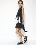 black quilted PU leather sandals *pre-order*