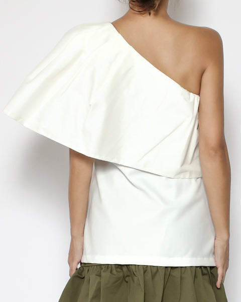 ivory ruffle collar one shoulder shirt top