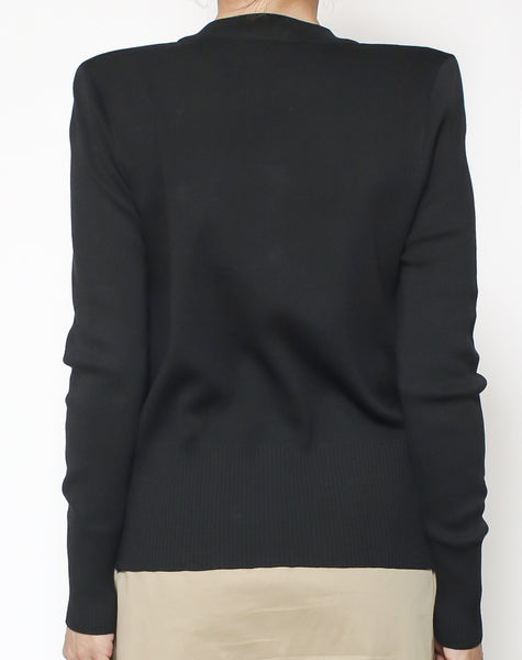 black cardigan with gold button *pre-order*