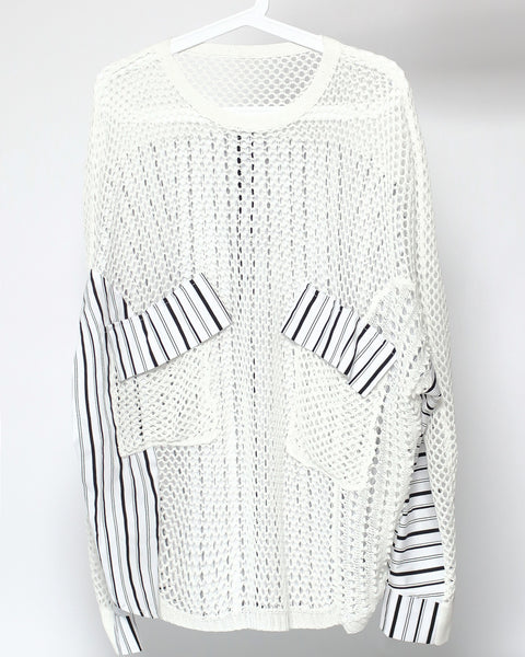 ivory net with stripes shirt contrast top *pre-order*