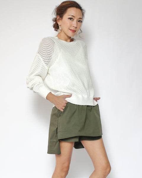 ivory net knitted top *pre-order*