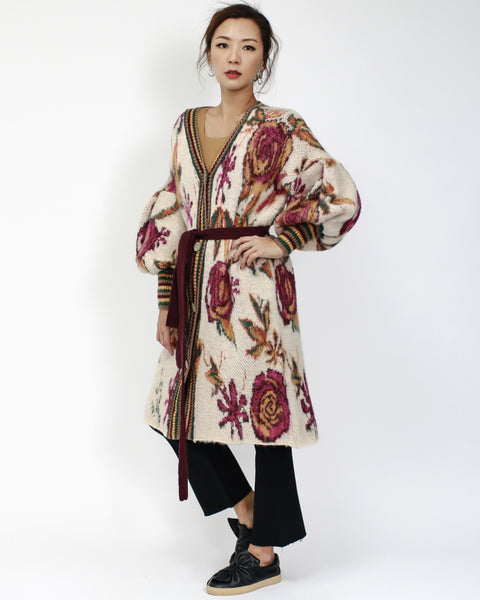 beige with burgundy floral patterned longline mohair knitted cardigan with belt *pre-order*