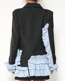 black blazer with blue stripes shirt contrast