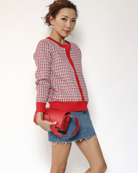 red & ivory patterned cardigan
