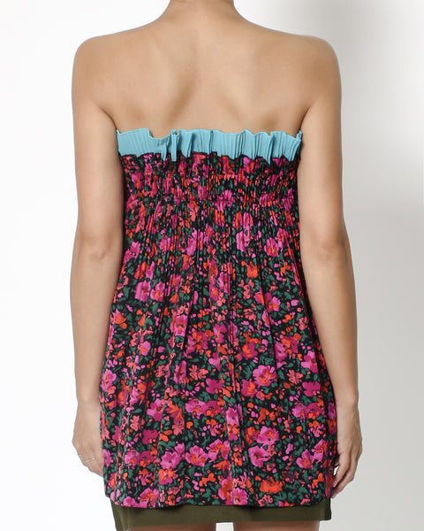 fuchia floral pleats slinky with blue ruffles trim tube top