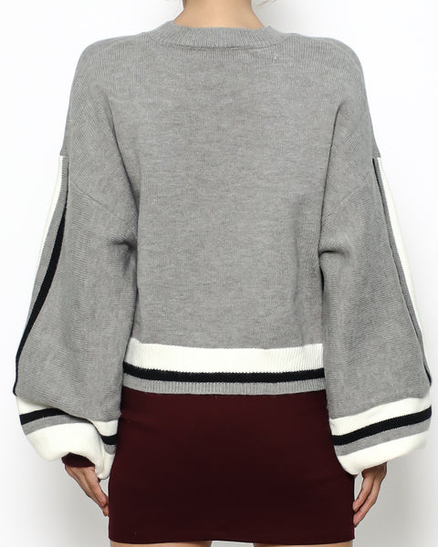 grey ivory & burgundy knitted top