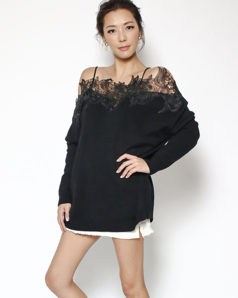 black knitted & lace off shoulders top