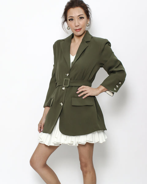 olive green blazer with belt