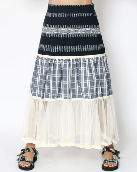 navy contrast checkers & mesh longline skirt