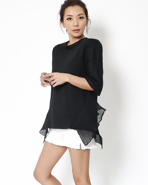 black tee with chiffon pleats sides *pre-order*