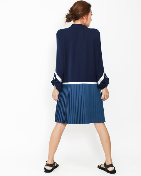 navy & blue pleats contrast dress *pre-order*