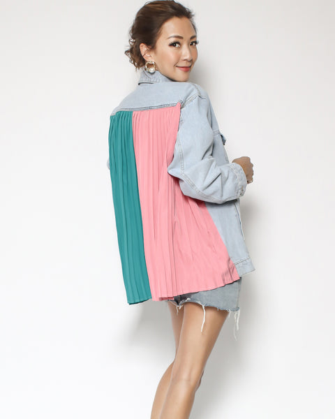 light denim with turquoise & pink chiffon pleats back contrast jacket