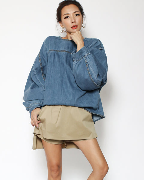 denim puff sleeves top *pre-order*