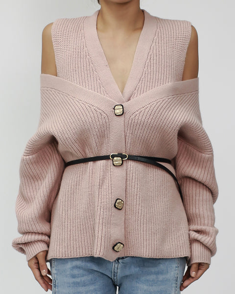 pink off shoulders knitted top with belt *pre-order*