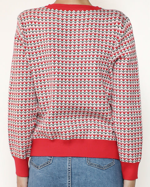 red & ivory patterned cardigan *pre-order*
