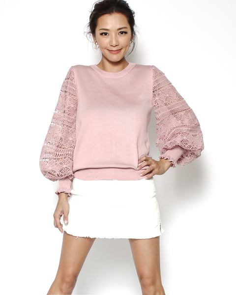 pink crochet sleeves knitted top