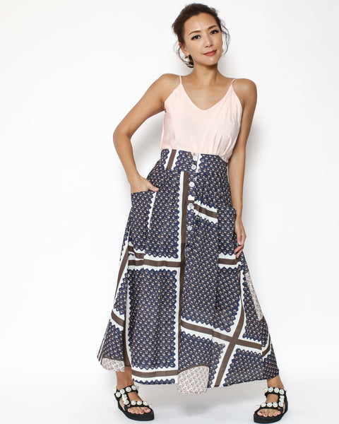 Printed high waist longline skirt