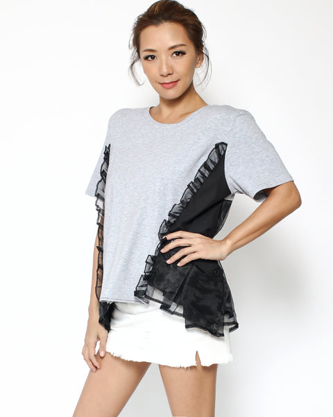 grey tee with black mesh layer back