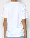 white tee with nude mesh and bows front *pre-order*