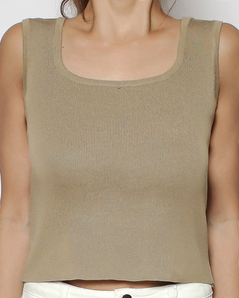 beige square neck knitted basic vest *pre-order*