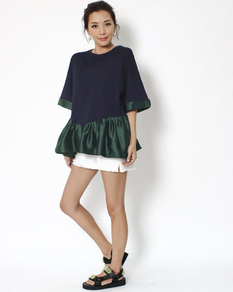 navy tee with green satin frill & trim *pre-order*
