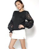 black crochet sleeve knitted top