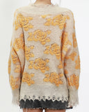 beige with yellow patterned knitted top *pre-order*