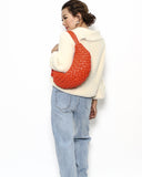 bright orange weave leather banana bag *pre-order*