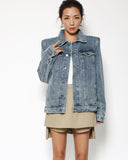 denim shoulder pads jacket *pre-order*