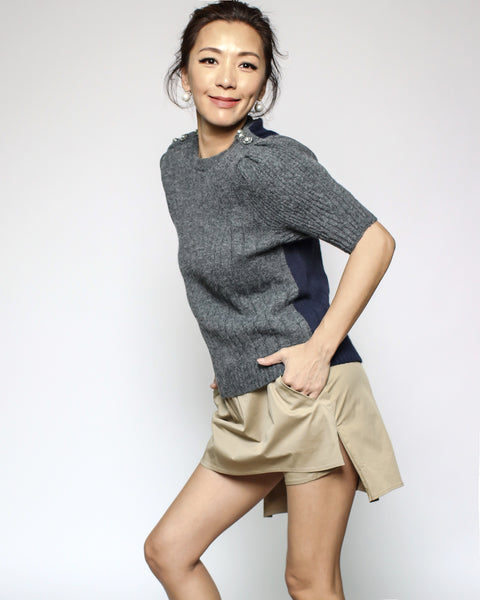 grey & navy diamonds button knitted top *pre-order*