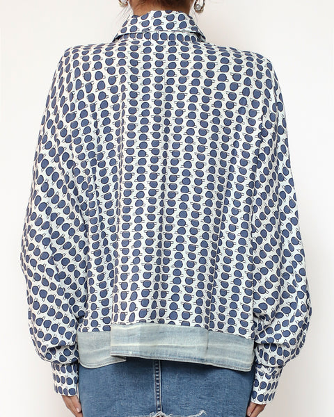 blue printed with denim tie-up waist shirt *pre-order*