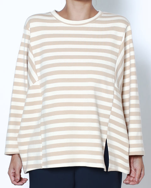 ivory & beige stroipes sweat top