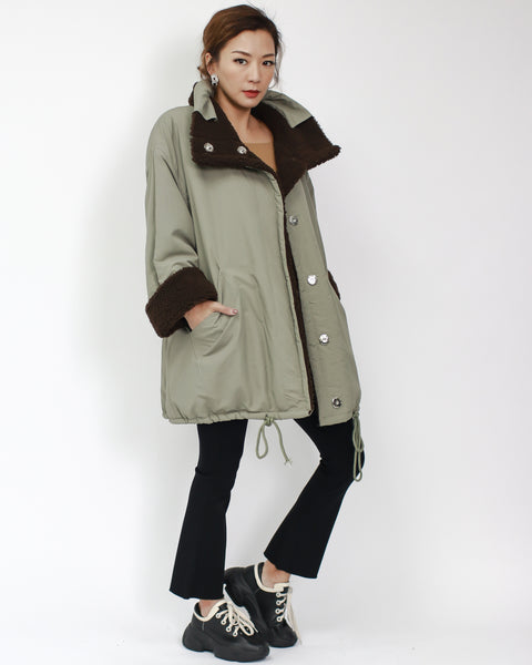 brown terry with green contrast two-side reversible jacket