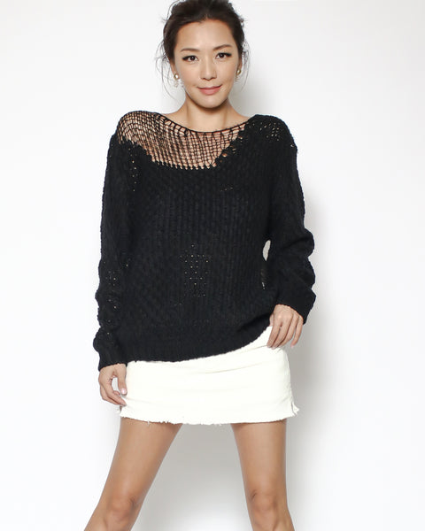 black net knitted top