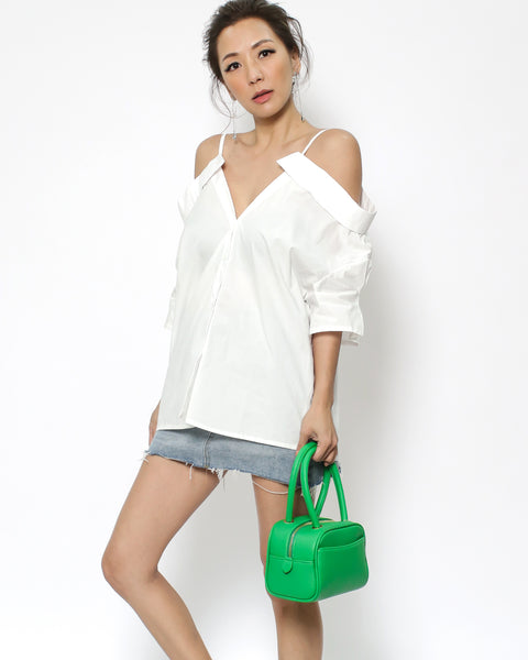 ivory cutout shoulders shirt