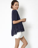 navy tee with crochet frill hem *pre-order*