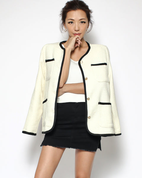 ivory tweed & black trim jacket *pre-order*
