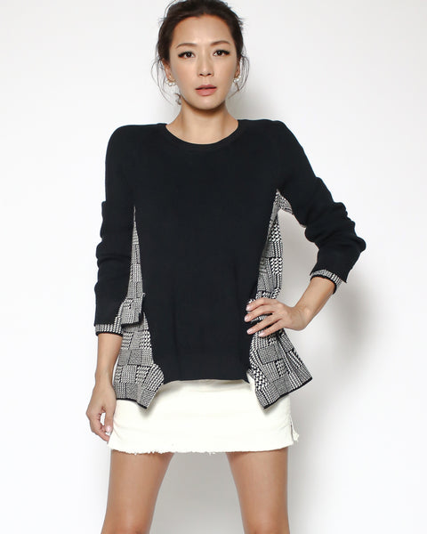 black & houndstooth knitted top