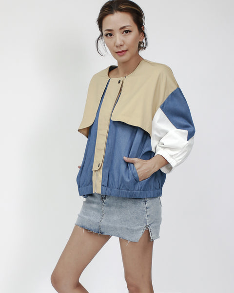 denim with black & beige contrast fabric jacket