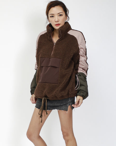 brown terry with pink & olive green contrast jacket *pre-order*