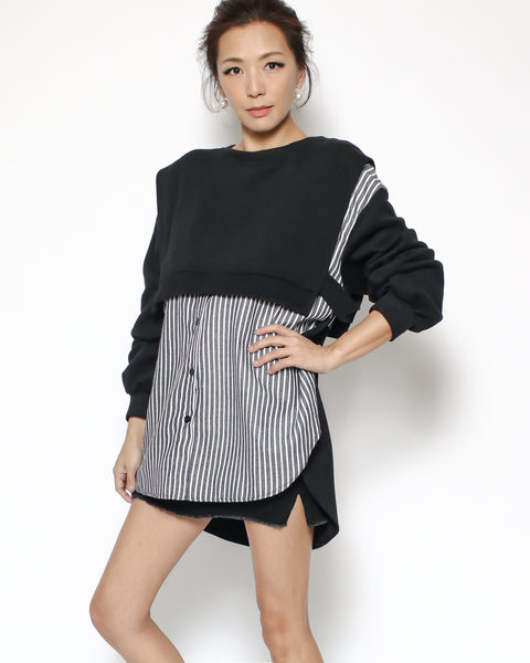 black sweatshirt & stripes shirt top