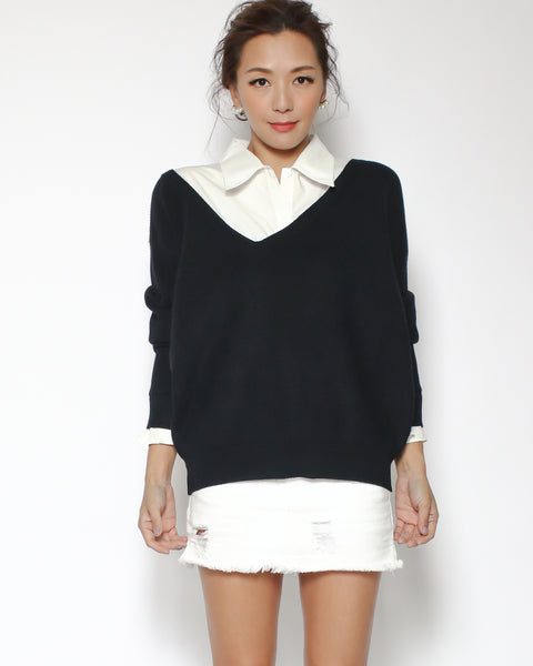 black knitted with ivory shirt top *pre-order*